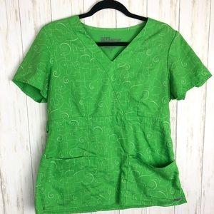 Grey's Anatomy scrub top medium green